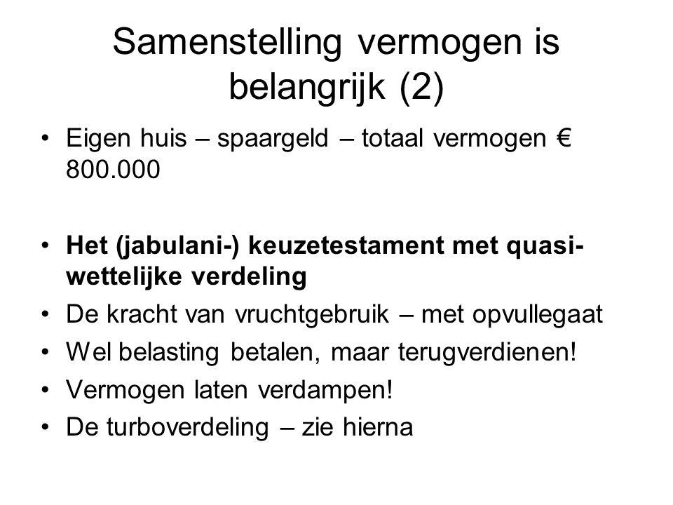 Samenstelling vermogen is belangrijk (2) •Eigen huis – spaargeld – totaal vermogen € 800.000 •Het (jabulani-) keuzetestament met quasi- wettelijke ver