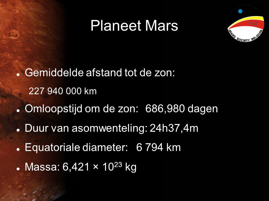 Planeet Mars  Gemiddelde afstand tot de zon: 227 940 000 km  Omloopstijd om de zon: 686,980 dagen  Duur van asomwenteling: 24h37,4m  Equatoriale diameter: 6 794 km  Massa: 6,421 × 10 23 kg