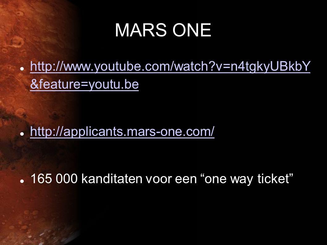 MARS ONE  http://www.youtube.com/watch?v=n4tgkyUBkbY &feature=youtu.be http://www.youtube.com/watch?v=n4tgkyUBkbY &feature=youtu.be  http://applicants.mars-one.com/ http://applicants.mars-one.com/  165 000 kanditaten voor een one way ticket