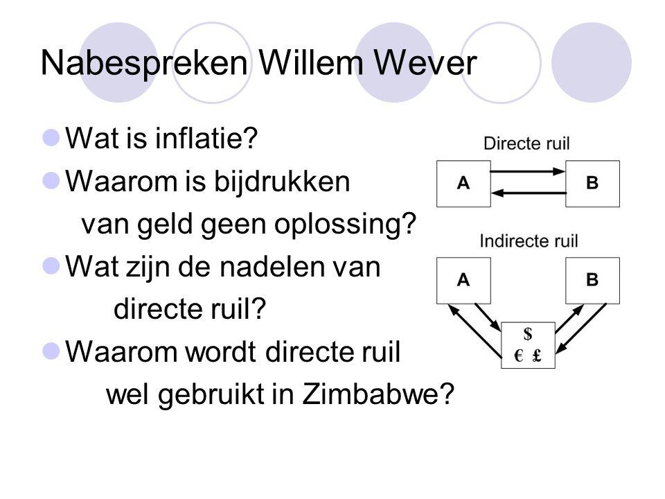 Nabespreken Willem Wever  Wat is inflatie?  Waarom is bijdrukken van geld geen oplossing?  Wat zijn de nadelen van directe ruil?  Waarom wordt dir