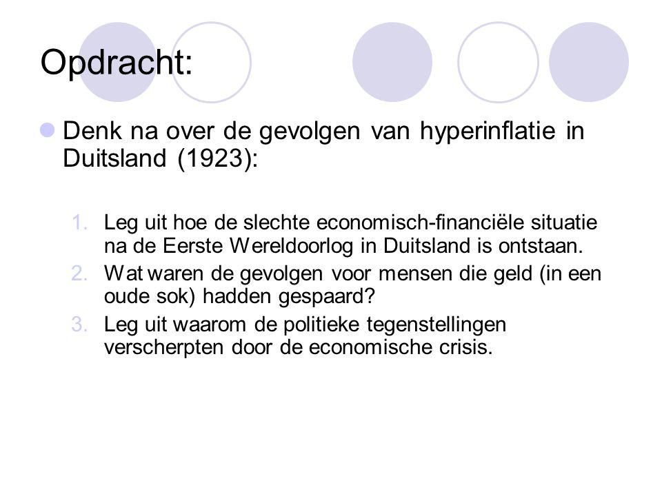 Opdracht:  Denk na over de gevolgen van hyperinflatie in Duitsland (1923): 1.Leg uit hoe de slechte economisch-financiële situatie na de Eerste Werel