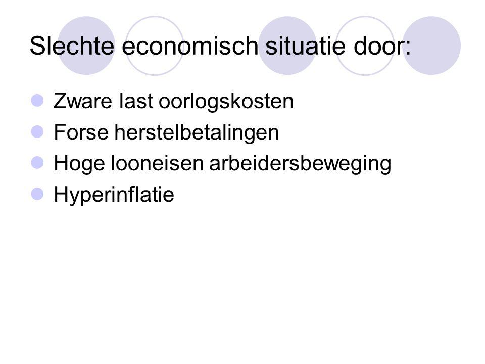 Slechte economisch situatie door:  Zware last oorlogskosten  Forse herstelbetalingen  Hoge looneisen arbeidersbeweging  Hyperinflatie