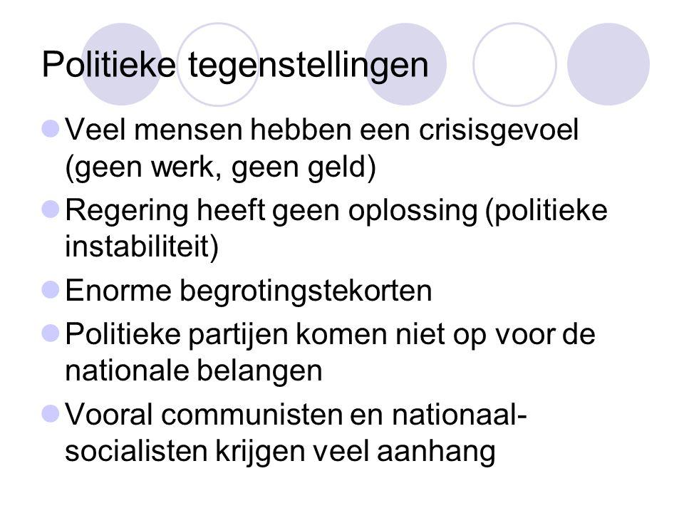 Politieke tegenstellingen  Veel mensen hebben een crisisgevoel (geen werk, geen geld)  Regering heeft geen oplossing (politieke instabiliteit)  Eno