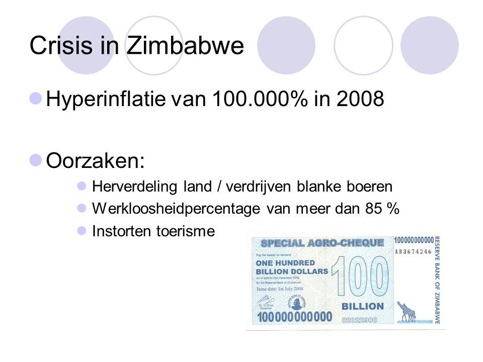 Crisis in Zimbabwe  Hyperinflatie van 100.000% in 2008  Oorzaken:  Herverdeling land / verdrijven blanke boeren  Werkloosheidpercentage van meer d