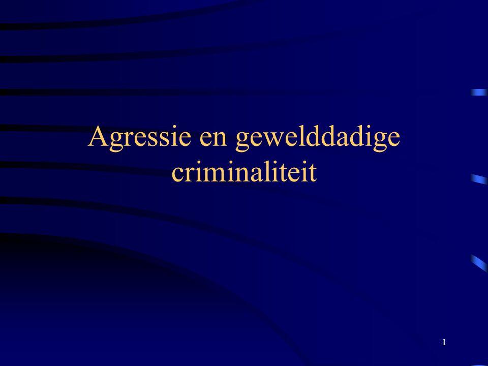 22 Theorieën over agressie - Biologische - Psychodynamische - Leerpsychologische en sociaal cognitieve - Sociaal psychologische