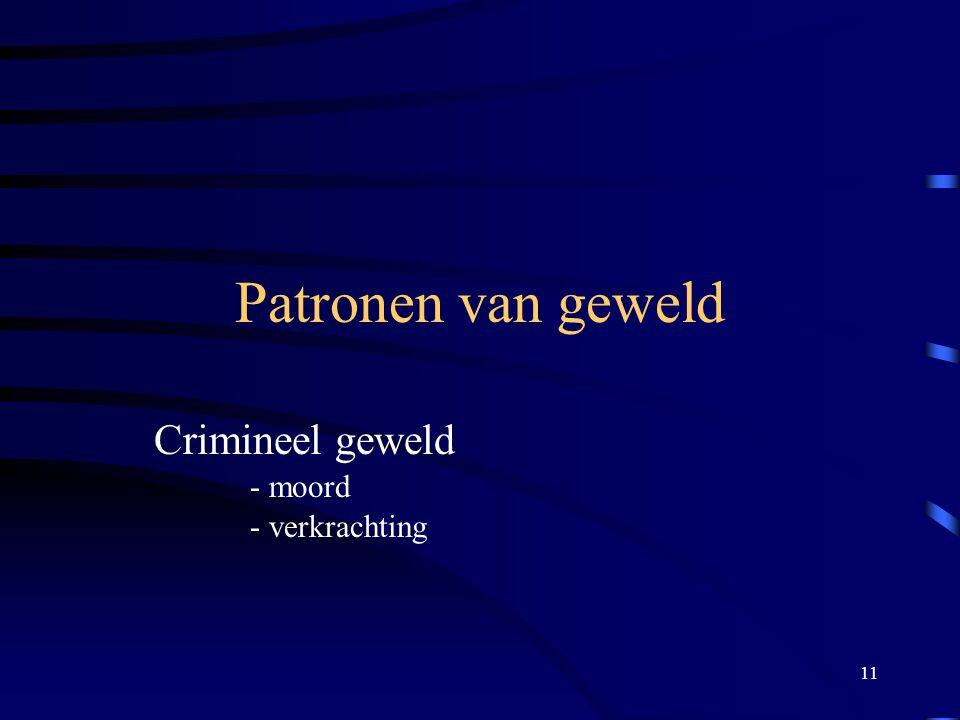 11 Patronen van geweld Crimineel geweld - moord - verkrachting