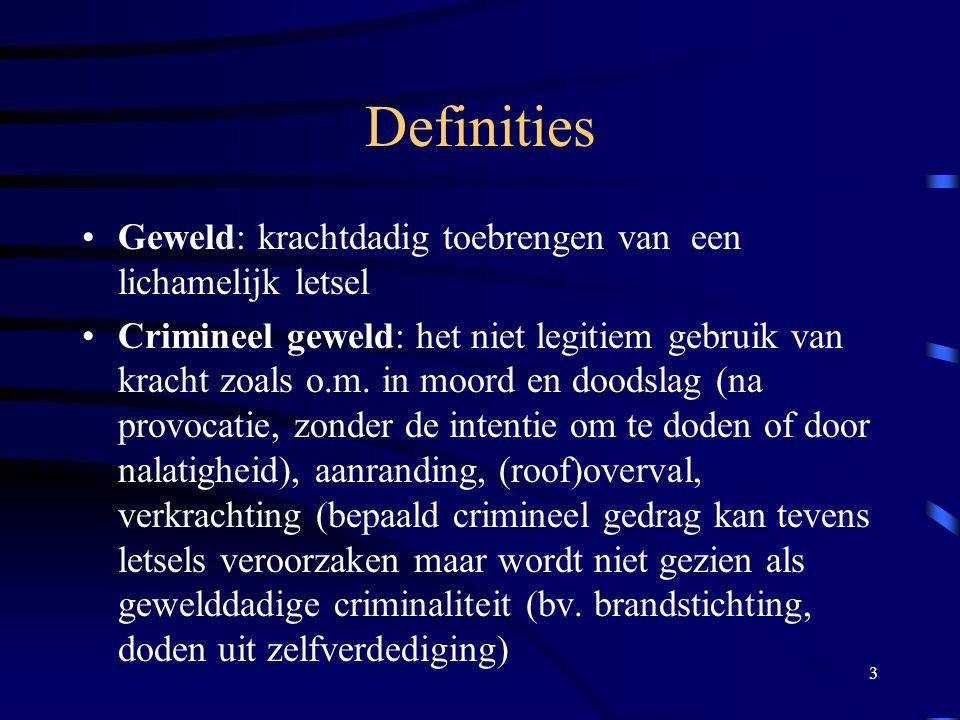 3 Definities •Geweld: krachtdadig toebrengen van een lichamelijk letsel •Crimineel geweld: het niet legitiem gebruik van kracht zoals o.m.