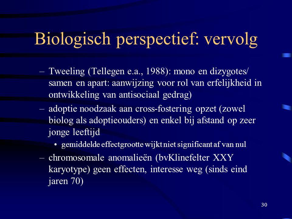 30 Biologisch perspectief: vervolg –Tweeling (Tellegen e.a., 1988): mono en dizygotes/ samen en apart: aanwijzing voor rol van erfelijkheid in ontwikkeling van antisociaal gedrag) –adoptie noodzaak aan cross-fostering opzet (zowel biolog als adoptieouders) en enkel bij afstand op zeer jonge leeftijd •gemiddelde effectgrootte wijkt niet significant af van nul –chromosomale anomalieën (bvKlinefelter XXY karyotype) geen effecten, interesse weg (sinds eind jaren 70)