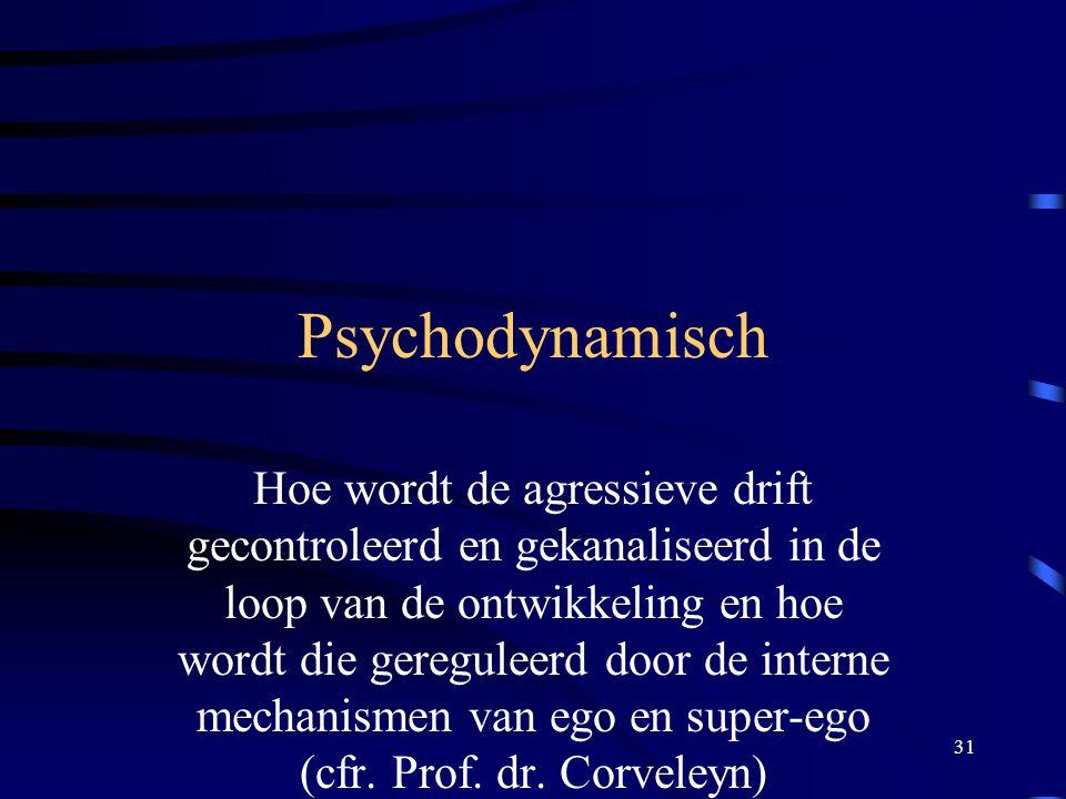 31 Psychodynamisch Hoe wordt de agressieve drift gecontroleerd en gekanaliseerd in de loop van de ontwikkeling en hoe wordt die gereguleerd door de interne mechanismen van ego en super-ego (cfr.