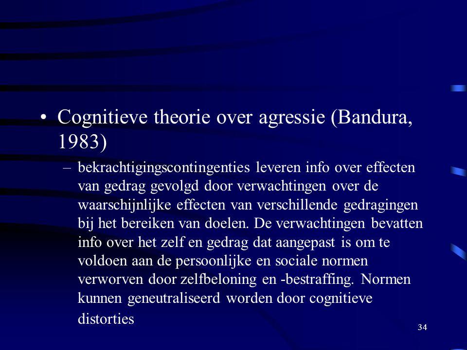 34 •Cognitieve theorie over agressie (Bandura, 1983) –bekrachtigingscontingenties leveren info over effecten van gedrag gevolgd door verwachtingen over de waarschijnlijke effecten van verschillende gedragingen bij het bereiken van doelen.