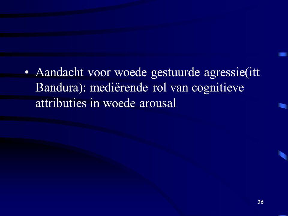 36 •Aandacht voor woede gestuurde agressie(itt Bandura): mediërende rol van cognitieve attributies in woede arousal