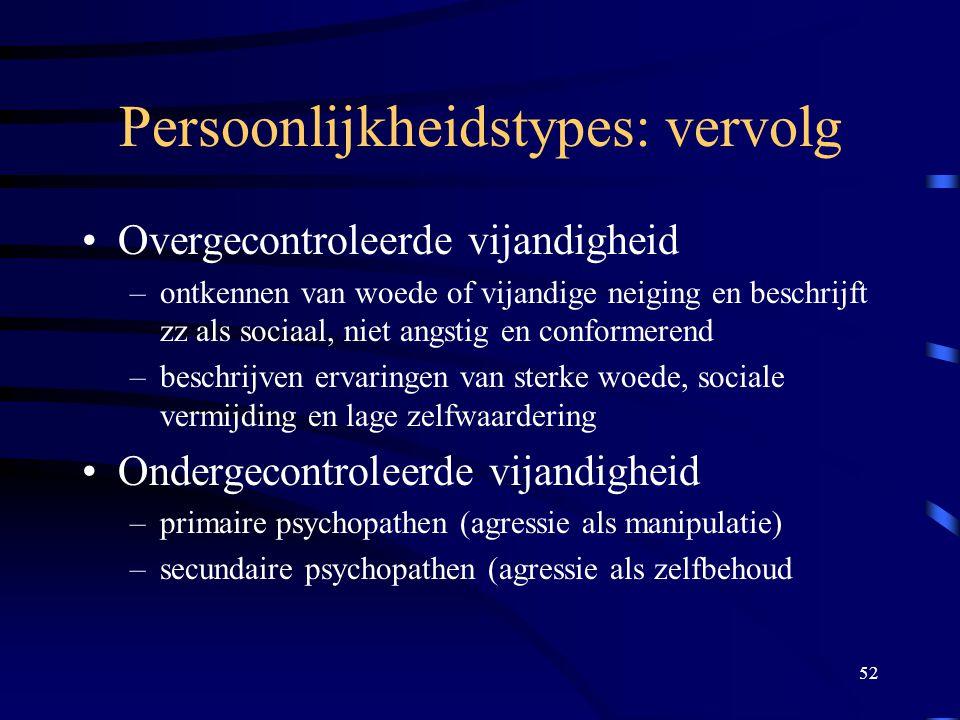 52 Persoonlijkheidstypes: vervolg •Overgecontroleerde vijandigheid –ontkennen van woede of vijandige neiging en beschrijft zz als sociaal, niet angstig en conformerend –beschrijven ervaringen van sterke woede, sociale vermijding en lage zelfwaardering •Ondergecontroleerde vijandigheid –primaire psychopathen (agressie als manipulatie) –secundaire psychopathen (agressie als zelfbehoud