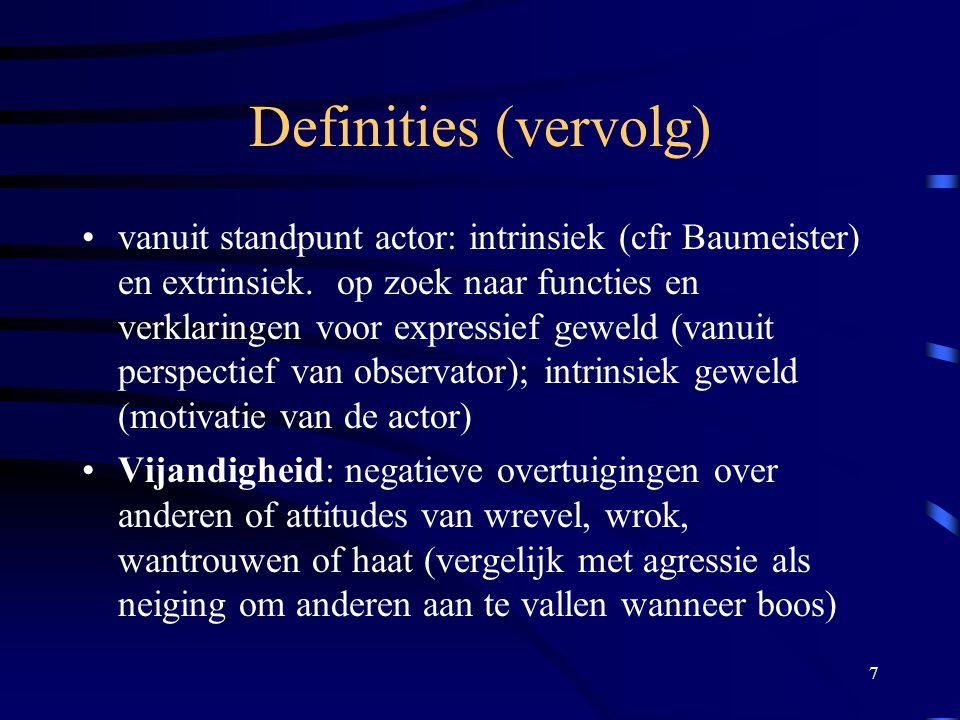 7 Definities (vervolg) •vanuit standpunt actor: intrinsiek (cfr Baumeister) en extrinsiek.