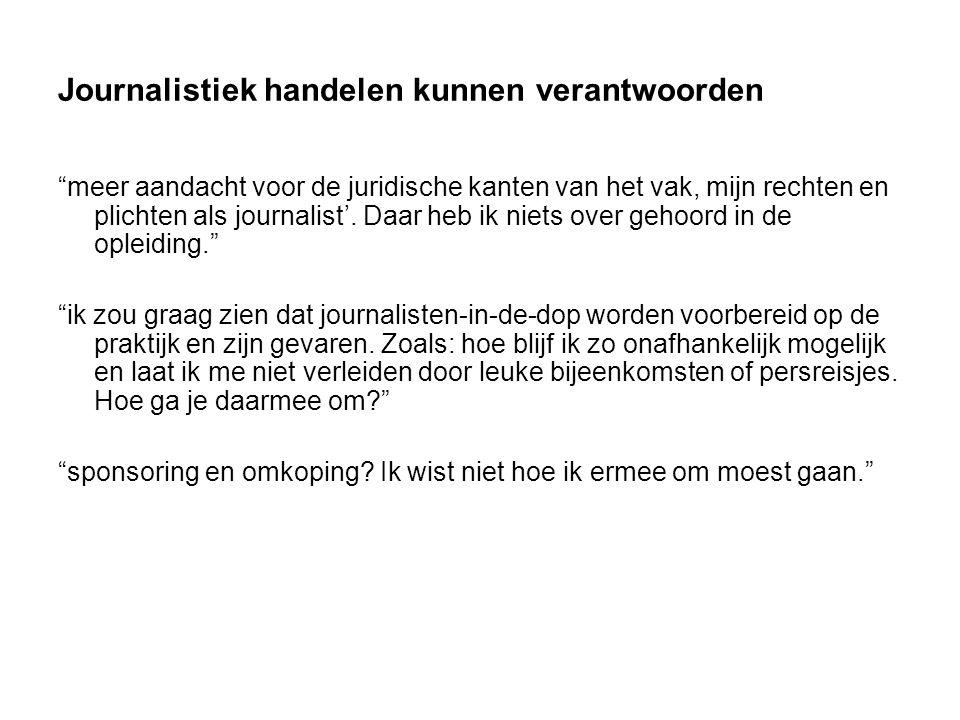Journalistiek handelen kunnen verantwoorden meer aandacht voor de juridische kanten van het vak, mijn rechten en plichten als journalist'.