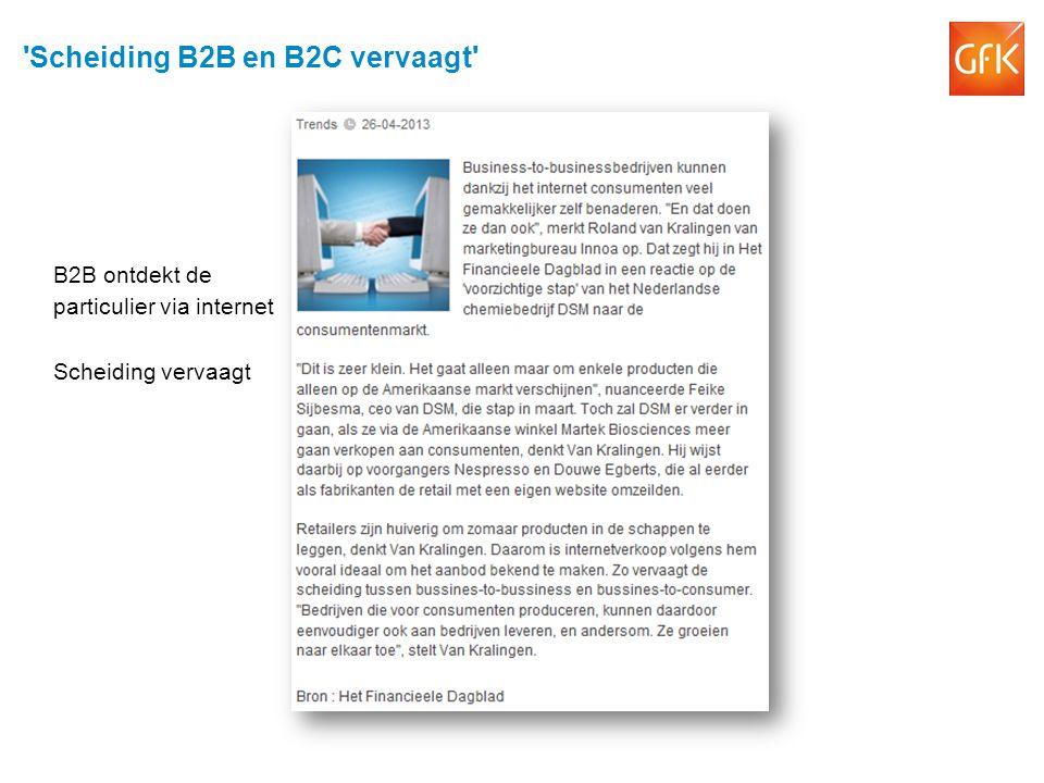 'Scheiding B2B en B2C vervaagt' B2B ontdekt de particulier via internet Scheiding vervaagt