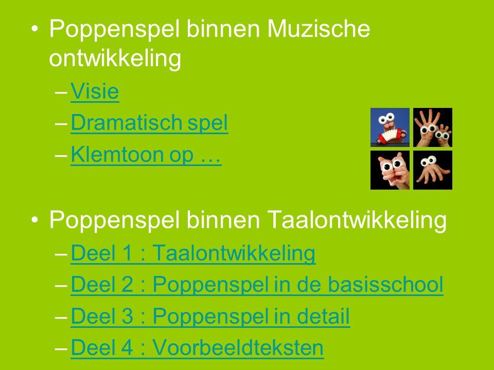 •Poppenspel binnen Muzische ontwikkeling –VisieVisie –Dramatisch spelDramatisch spel –Klemtoon op …Klemtoon op … •Poppenspel binnen Taalontwikkeling –Deel 1 : TaalontwikkelingDeel 1 : Taalontwikkeling –Deel 2 : Poppenspel in de basisschoolDeel 2 : Poppenspel in de basisschool –Deel 3 : Poppenspel in detailDeel 3 : Poppenspel in detail –Deel 4 : VoorbeeldtekstenDeel 4 : Voorbeeldteksten –Deel 5 : Ogen ….Deel 5 : Ogen ….