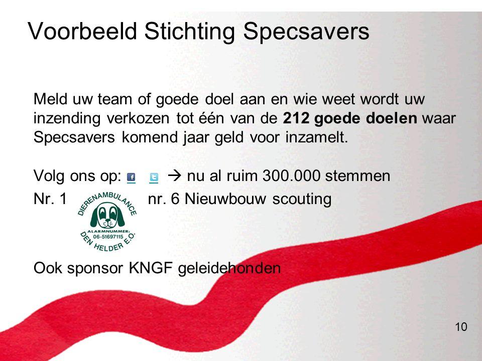 10 Voorbeeld Stichting Specsavers Meld uw team of goede doel aan en wie weet wordt uw inzending verkozen tot één van de 212 goede doelen waar Specsave