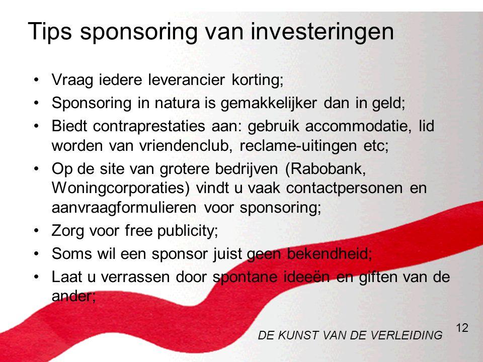 12 Tips sponsoring van investeringen •Vraag iedere leverancier korting; •Sponsoring in natura is gemakkelijker dan in geld; •Biedt contraprestaties aa