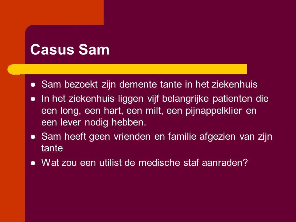 Casus Sam  Sam bezoekt zijn demente tante in het ziekenhuis  In het ziekenhuis liggen vijf belangrijke patienten die een long, een hart, een milt, een pijnappelklier en een lever nodig hebben.