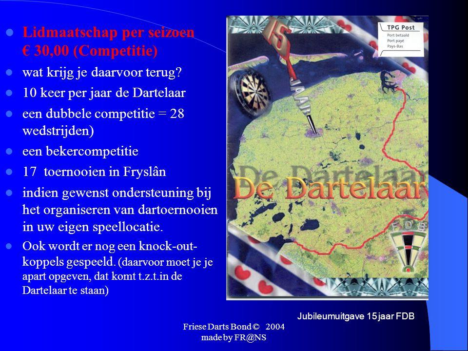 Friese Darts Bond © 2004 made by FR@NS Mede door dit alles moest de FDB ook bestuurlijk opzicht professioneler worden, dit resulteerde in 2001 dat de FDB de beschikking kreeg over een bondskantoor.