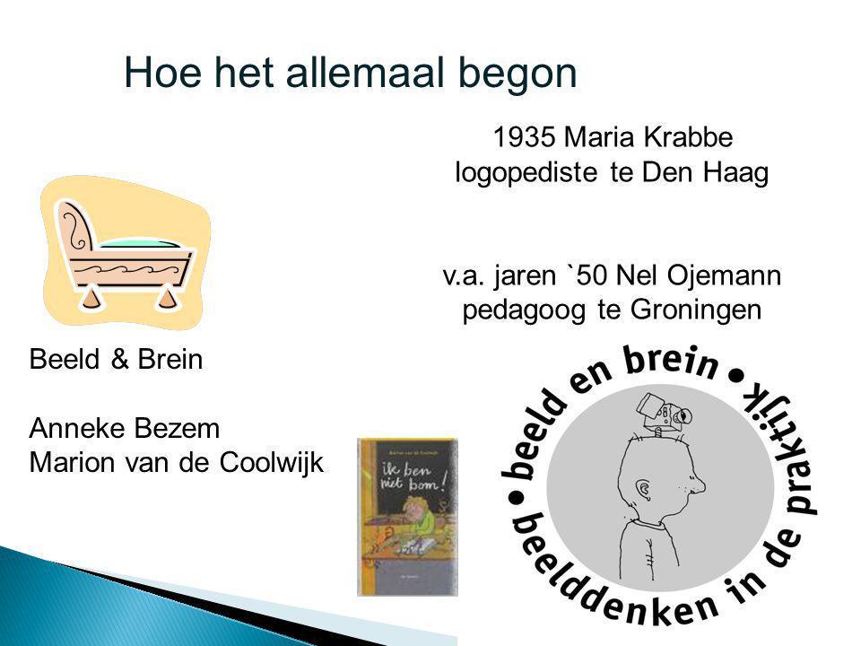1935 Maria Krabbe logopediste te Den Haag v.a. jaren `50 Nel Ojemann pedagoog te Groningen Beeld & Brein Anneke Bezem Marion van de Coolwijk Hoe het a