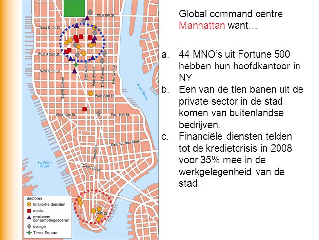 Global command centre Manhattan want… a.44 MNO's uit Fortune 500 hebben hun hoofdkantoor in NY b.Een van de tien banen uit de private sector in de sta