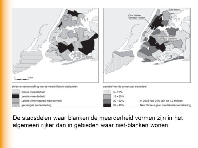 De stadsdelen waar blanken de meerderheid vormen zijn in het algemeen rijker dan in gebieden waar niet-blanken wonen.