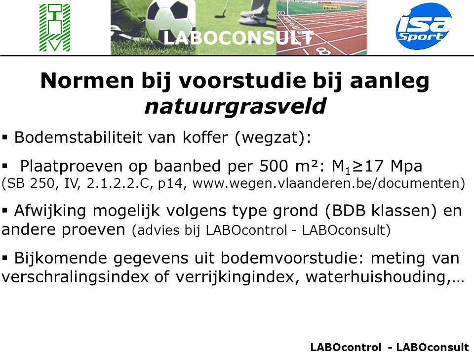 LABOCONSULT Normen bij voorstudie bij aanleg natuurgrasveld  Bodemstabiliteit van koffer (wegzat):  Plaatproeven op baanbed per 500 m²: M 1 ≥17 Mpa
