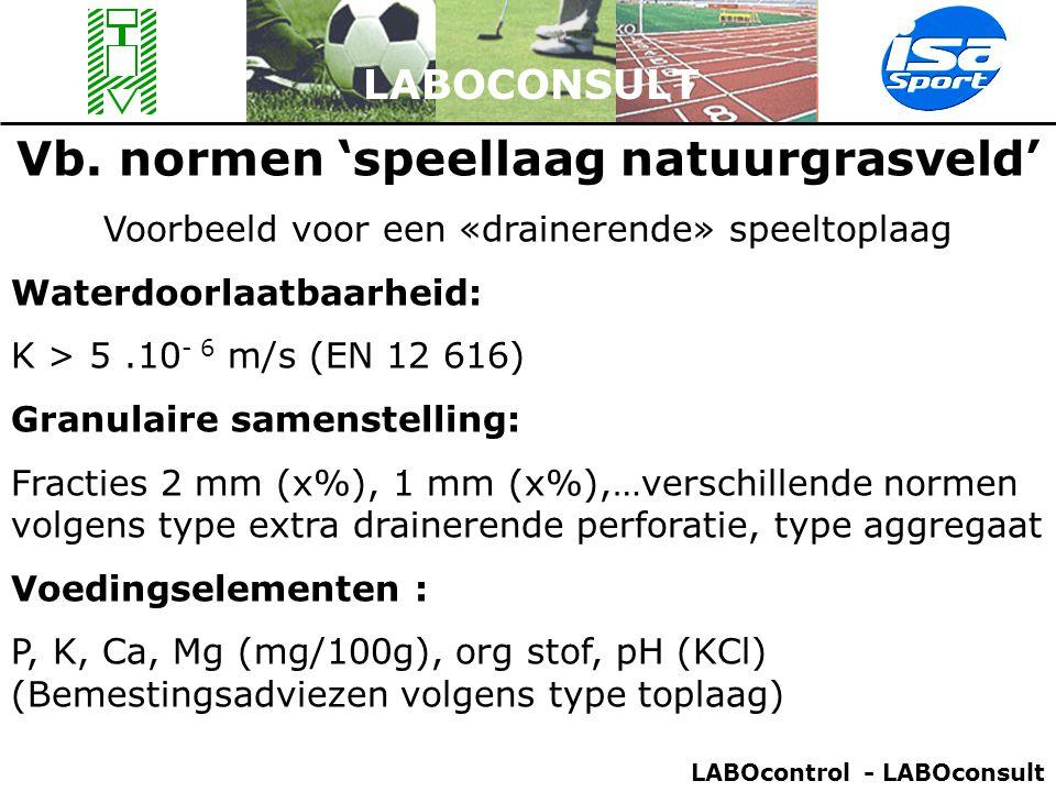 Vb. normen 'speellaag natuurgrasveld' Voorbeeld voor een «drainerende» speeltoplaag Waterdoorlaatbaarheid: K > 5.10 - 6 m/s (EN 12 616) Granulaire sam