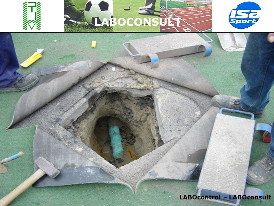 LABOCONSULT Normen bij elke bouwfase:  Bij de voorstudie (bodemonderzoeken)  Na afgraving voor baanbed/koffer/wegzat  Voor de (onder)fundering / drainage  Voor de speellaag (toplaag / tapijt) Volgende vbn van normen van 1-01-08, actuele normen te vinden op resp.