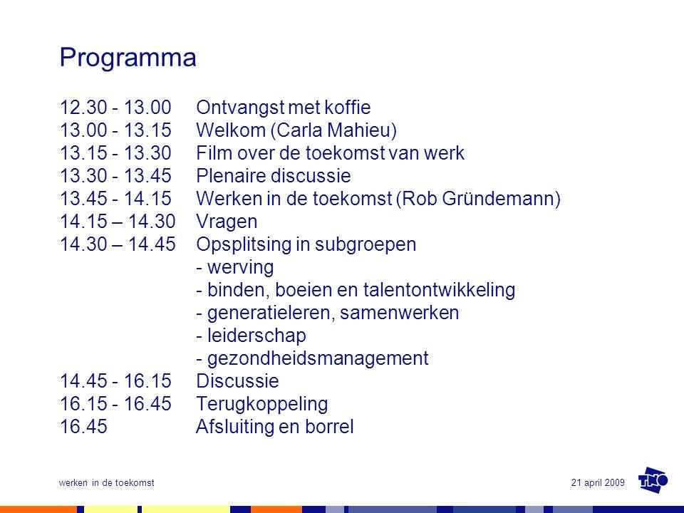21 april 2009werken in de toekomst Programma 12.30 - 13.00 Ontvangst met koffie 13.00 - 13.15 Welkom (Carla Mahieu) 13.15 - 13.30 Film over de toekoms