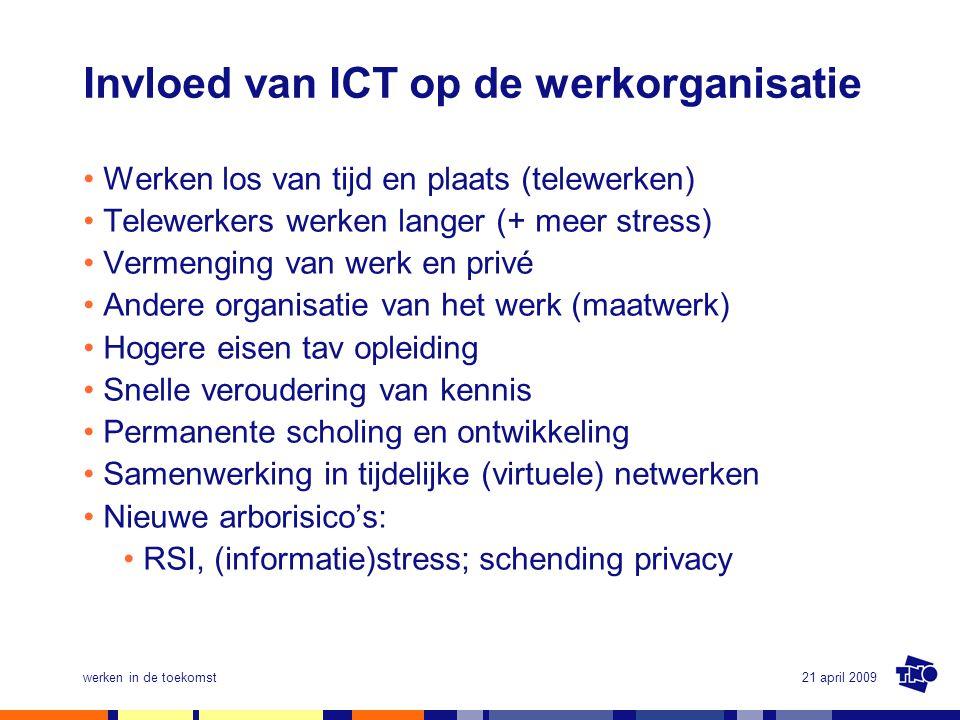 21 april 2009werken in de toekomst Invloed van ICT op de werkorganisatie •Werken los van tijd en plaats (telewerken) •Telewerkers werken langer (+ mee