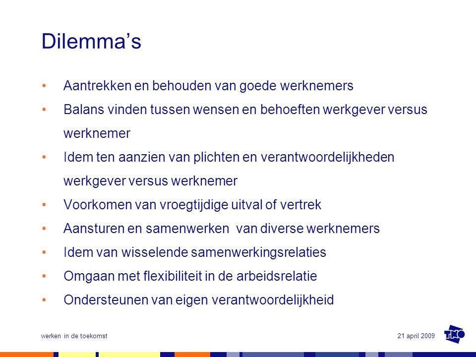 21 april 2009werken in de toekomst Dilemma's •Aantrekken en behouden van goede werknemers •Balans vinden tussen wensen en behoeften werkgever versus w