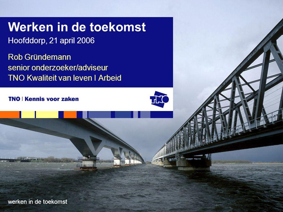 21 april 2009werken in de toekomst Ontwikkelingen in de werkende bevolking in Nederland (1990 – 2008) mannenvrouwen Totaal (* 1000) index Totaal (* 1000) index 199036861001958100 199538141032249115 200042151142848145 200539821082937152 200841831133253166