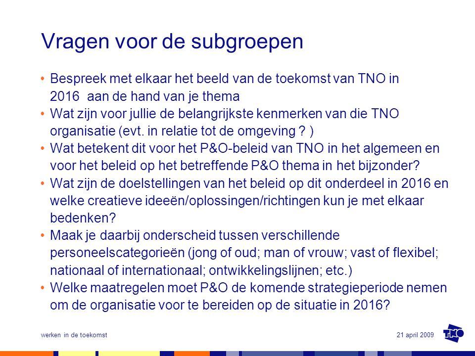 21 april 2009werken in de toekomst Vragen voor de subgroepen •Bespreek met elkaar het beeld van de toekomst van TNO in 2016 aan de hand van je thema •