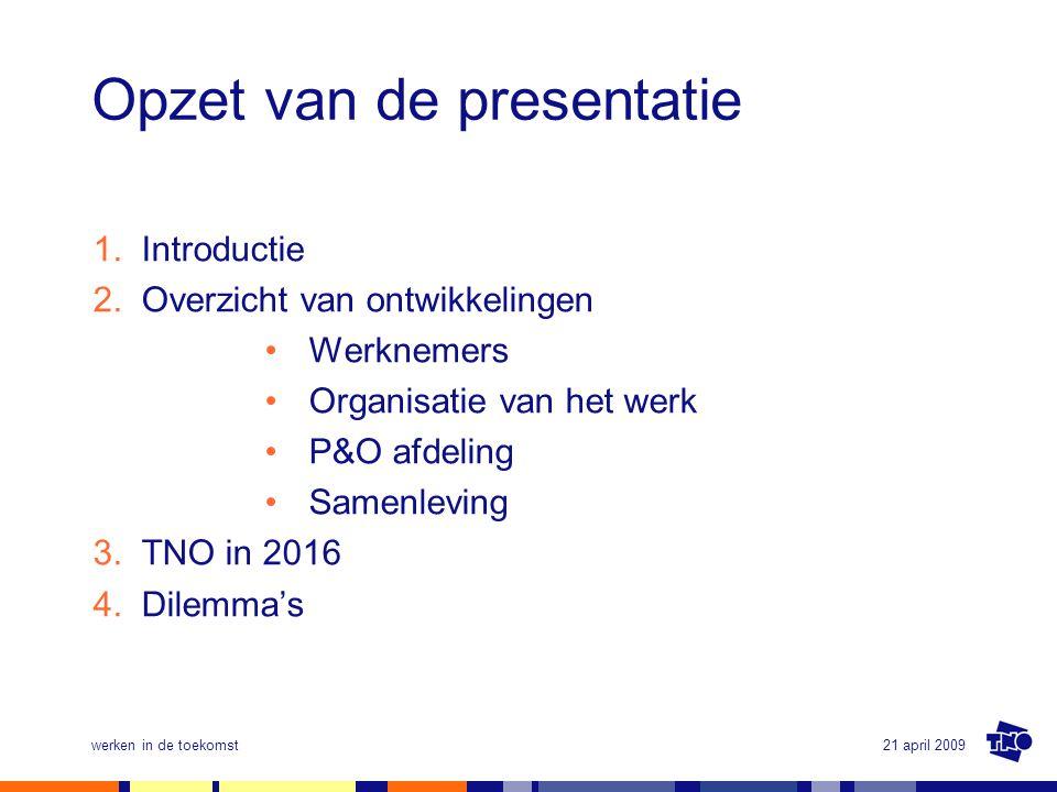 21 april 2009werken in de toekomst Opzet van de presentatie 1.Introductie 2.Overzicht van ontwikkelingen •Werknemers •Organisatie van het werk •P&O af