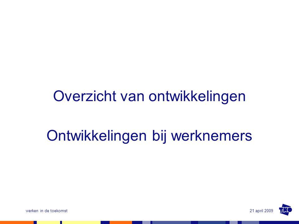 21 april 2009werken in de toekomst Informatisering in Nederland (eind 2007) (CBS, 2008) •Meeste huishouden beschikt over PC (88%) en aansluiting internet (86%; 11,7 miljoen personen); 74% heeft breedbandaansluiting •Vrijwel alle bedrijven in Nederland aangesloten op internet (bijna 100%) •Merendeel bedrijven heeft breedbandverbinding (86%) en eigen website (83%) •Helft van de medewerkers (52%) gebruikt op het werk geregeld een computer met internet