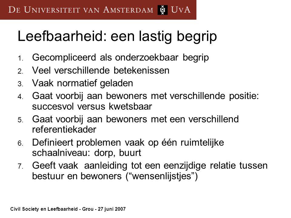 Civil Society en Leefbaarheid - Grou - 27 juni 2007 Leefbaarheid: een lastig begrip 1.