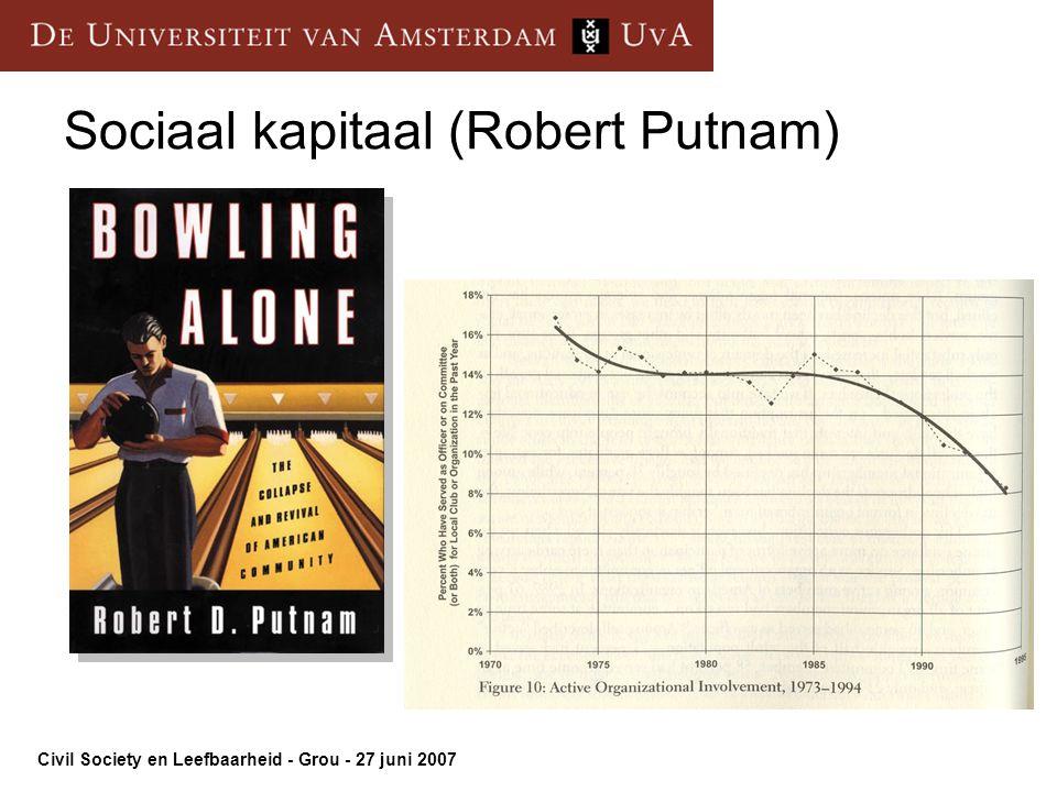 Civil Society en Leefbaarheid - Grou - 27 juni 2007 Sociaal kapitaal (Robert Putnam)