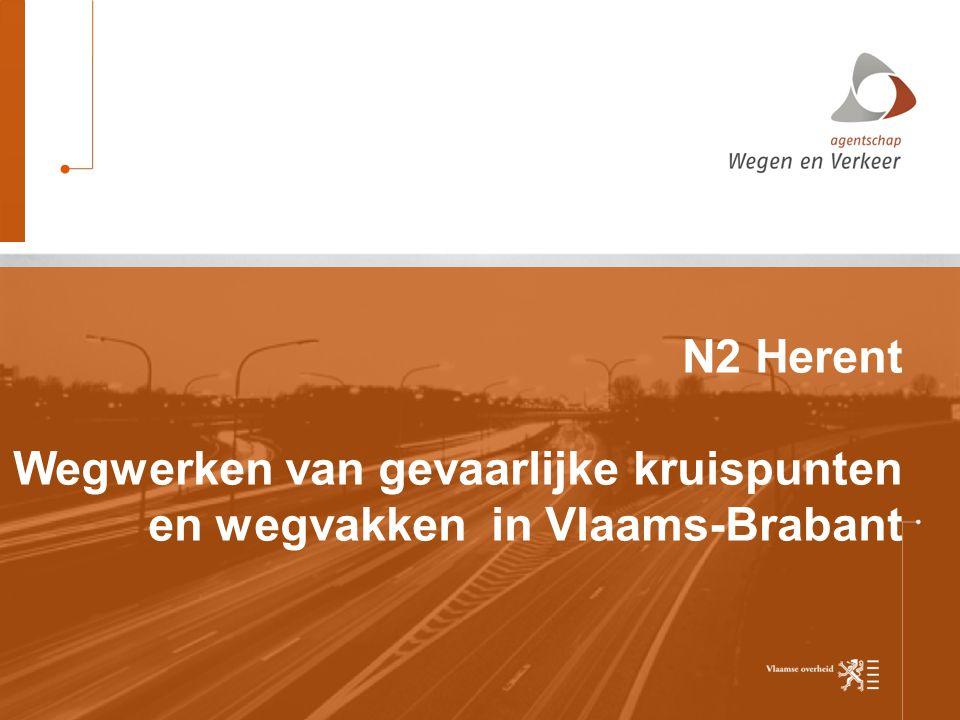 19-6-2014 N2 Herent Wegwerken van gevaarlijke kruispunten en wegvakken in Vlaams-Brabant