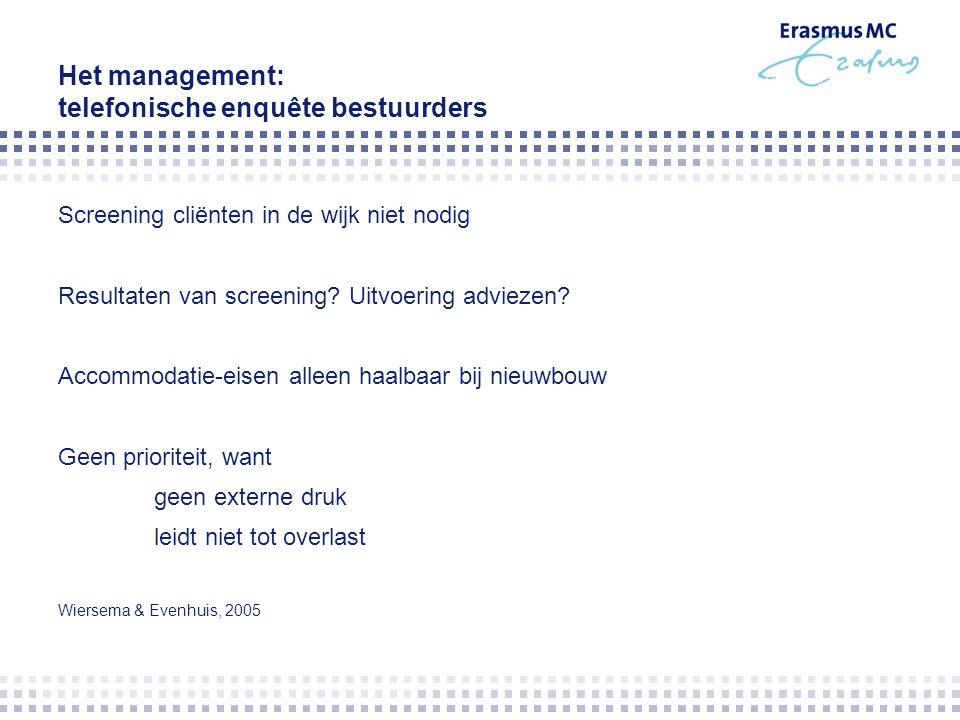Het management: telefonische enquête bestuurders Screening cliënten in de wijk niet nodig Resultaten van screening? Uitvoering adviezen? Accommodatie-