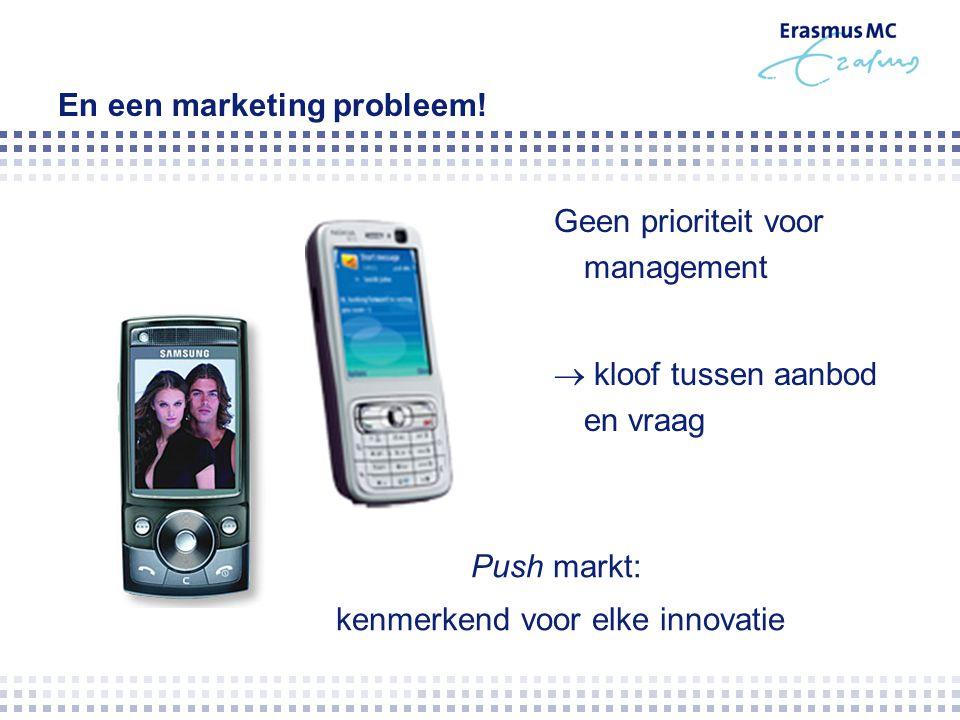 En een marketing probleem! Geen prioriteit voor management  kloof tussen aanbod en vraag Push markt: kenmerkend voor elke innovatie