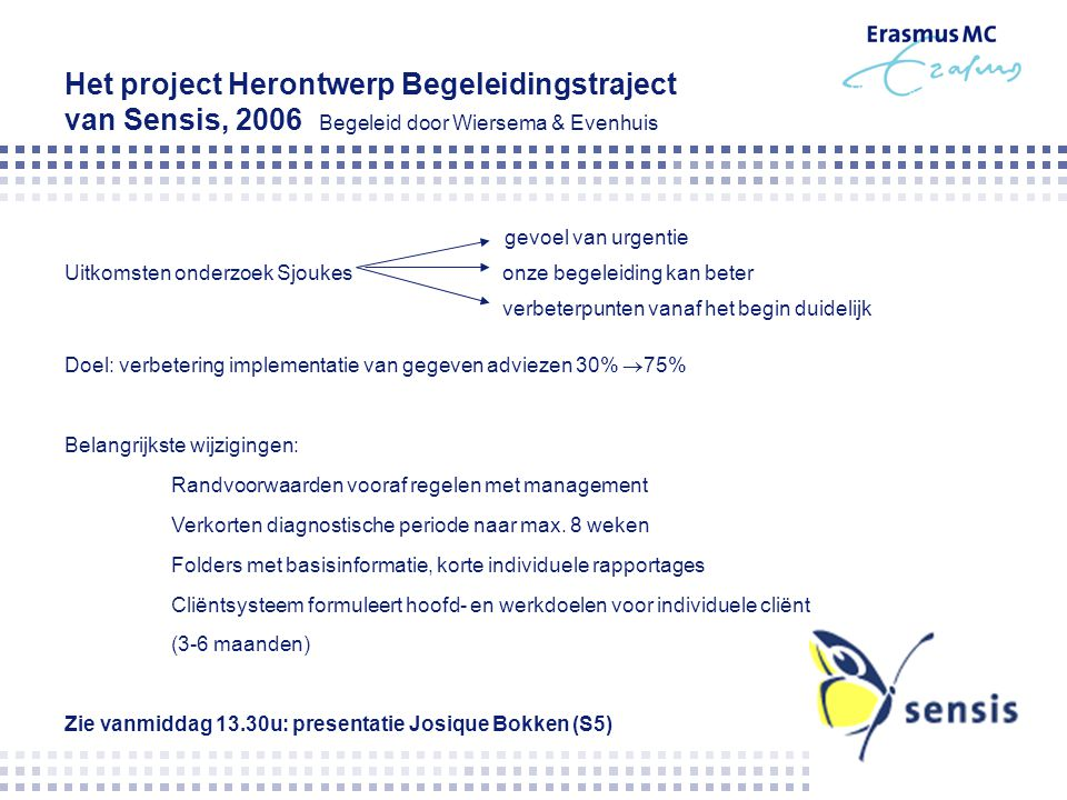 Het project Herontwerp Begeleidingstraject van Sensis, 2006 Begeleid door Wiersema & Evenhuis gevoel van urgentie Uitkomsten onderzoek Sjoukes onze be