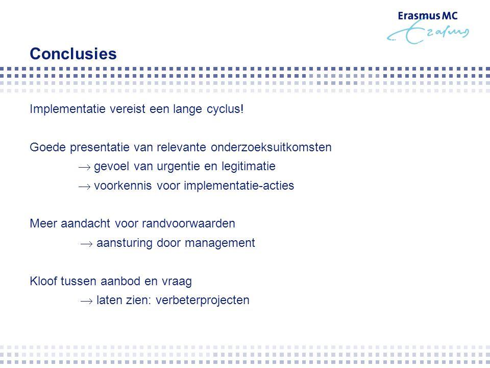 Conclusies Implementatie vereist een lange cyclus! Goede presentatie van relevante onderzoeksuitkomsten  gevoel van urgentie en legitimatie  voorken