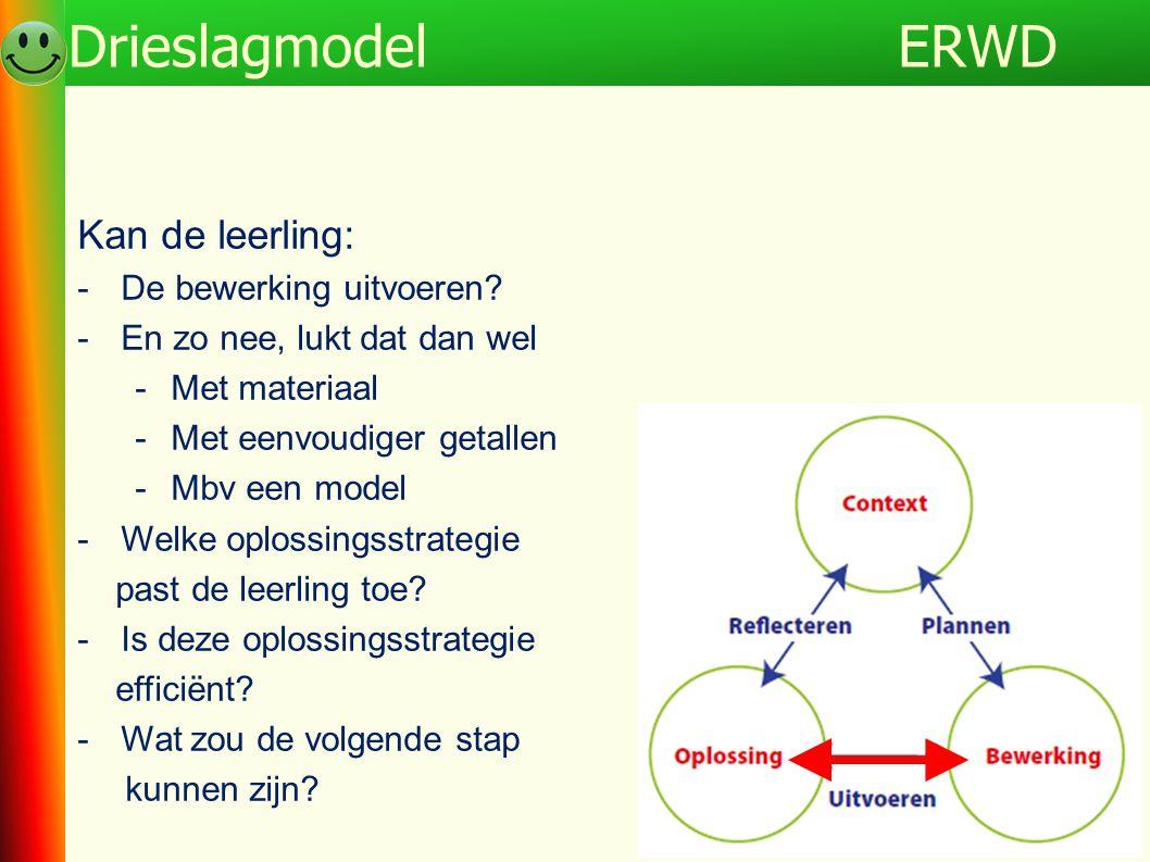 Kan de leerling: -De bewerking uitvoeren? -En zo nee, lukt dat dan wel -Met materiaal -Met eenvoudiger getallen -Mbv een model -Welke oplossingsstrate