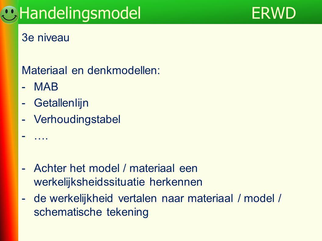 3e niveau Materiaal en denkmodellen: -MAB -Getallenlijn -Verhoudingstabel -…. -Achter het model / materiaal een werkelijksheidssituatie herkennen -de