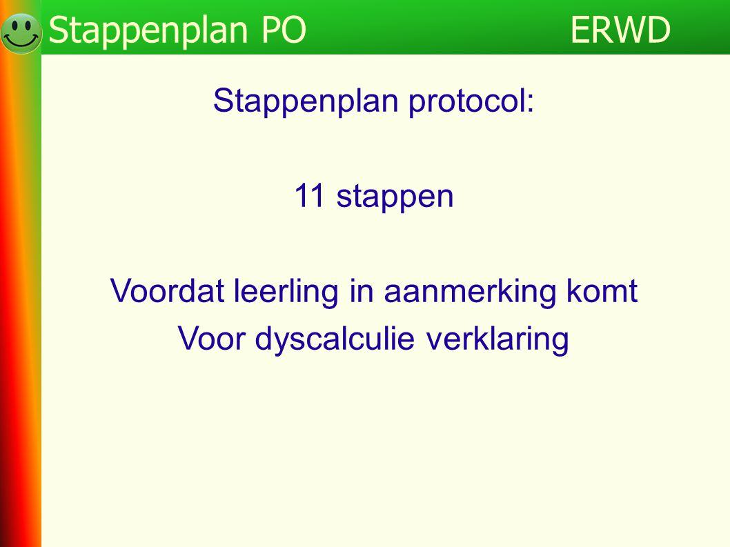 Programma Stappenplan protocol: 11 stappen Voordat leerling in aanmerking komt Voor dyscalculie verklaring ERWDStappenplan PO