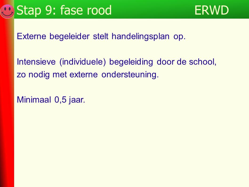 ERWDStap 9: fase rood Externe begeleider stelt handelingsplan op. Intensieve (individuele) begeleiding door de school, zo nodig met externe ondersteun