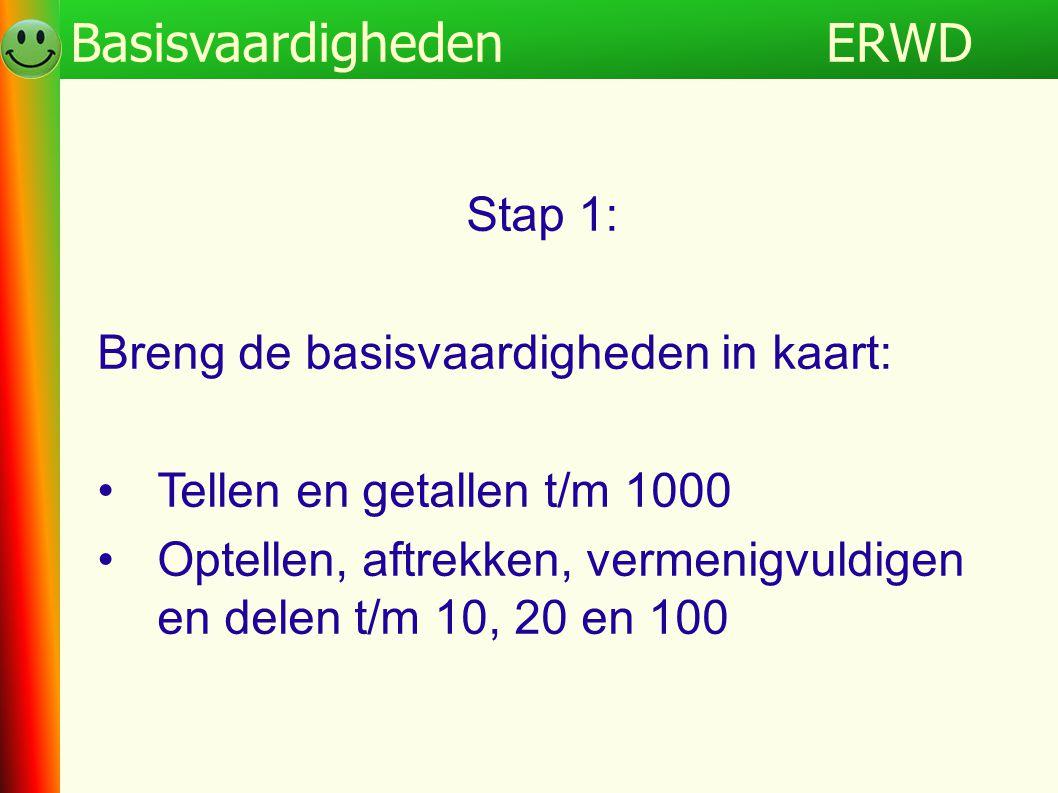 ERWDProgramma Stap 1: Breng de basisvaardigheden in kaart: •Tellen en getallen t/m 1000 •Optellen, aftrekken, vermenigvuldigen en delen t/m 10, 20 en