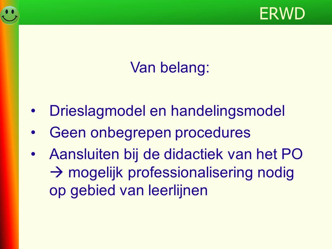 Programma Van belang: •Drieslagmodel en handelingsmodel •Geen onbegrepen procedures •Aansluiten bij de didactiek van het PO  mogelijk professionalise